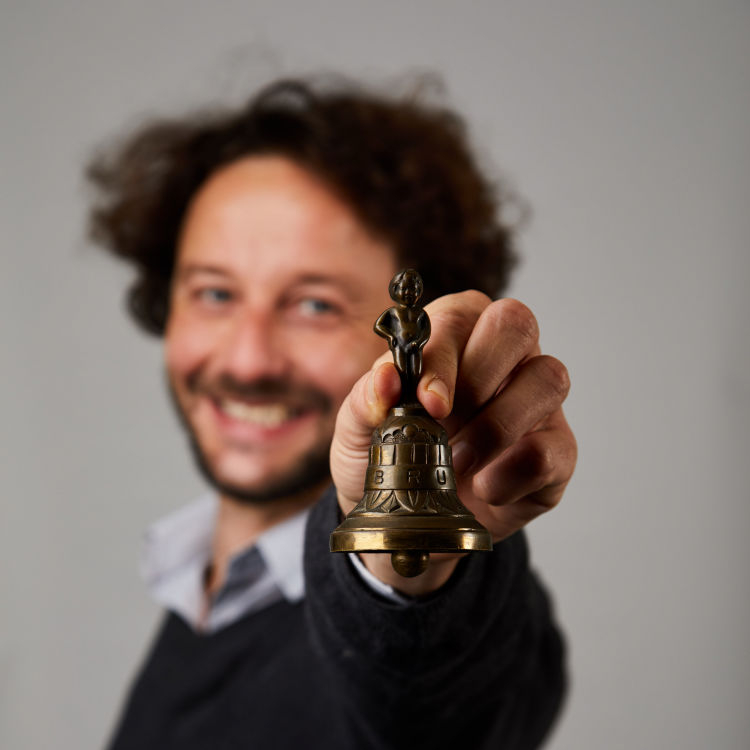Eugenio Mantovani with bell