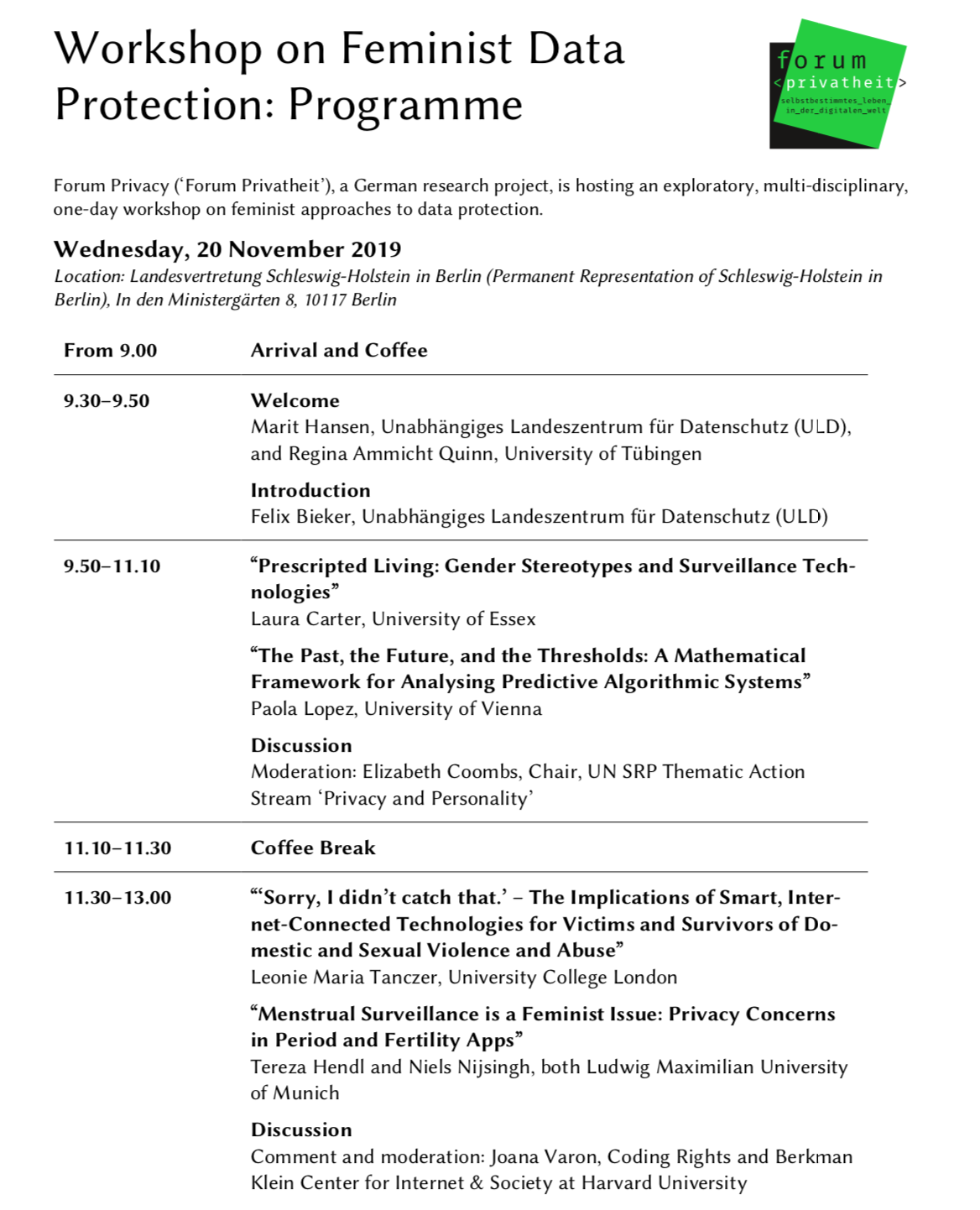 Programme of Workshop p1